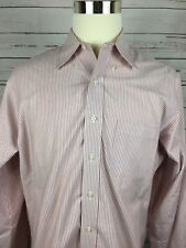 BROOKS BROTHERS Men's LS Lite Red,White Stripes Shirt Sz 16.5-6/7