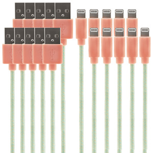 iPhone / iPad MFI Certified Lightning Cable 10-Pack (1.2m, Peach)
