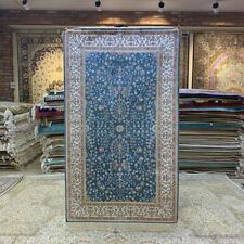 Yilong 3'x5' Blue Hand Knotted Silk Rug Family Room Floral Carpet 232B