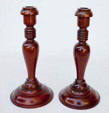 Pair of Turned Wood Vintage Candle Stick Holders Candlesticks Handmade