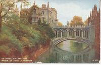 PC33015 St. Johns College and Bridge of Sighs. Cambridge. Valentine. Art Colour.