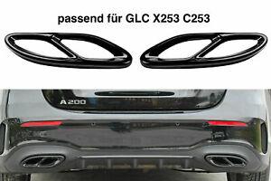 Set Schwarz Chrom Edelstahl Auspuffblende Abdeckung Mercedes GLC X253 C253 A2
