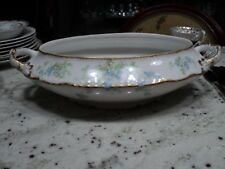 LIMOGES  M de M CHINA OLD ABBEY OVAL TUREEN /HANDLE BLUE GREEN AND WHITE FLOWERS