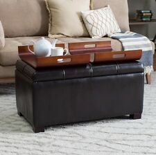 Ottoman With Storage And Trays Coffee Table Faux Leather Footstool Bench Living
