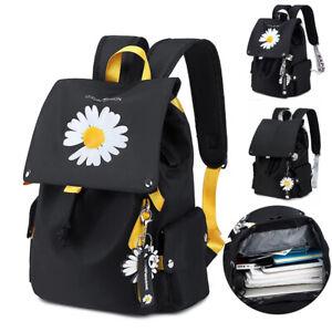 Women Girl Waterproof Daisy Print School Backpack Travel Rucksack Laptop Bag USB