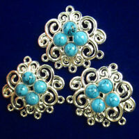 30x28x5mm 3Pcs Carved Tibetan silver Wrapped Turquoise Pendant Bead NN828