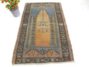 Old Floor Mat 2.3 x 3.5 ,Hand Knotted Rug,Blue Rug,Antique Rug,Turkish Wool Rug.