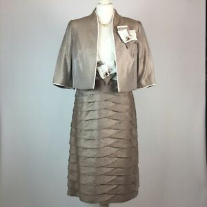 Mother Of Bride Groom Wedding Occasion Dress & Jacket UK 10 By GOLD Taupe Ivory