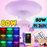 80W LED Ceiling Light RGB Bluetooth Music Speaker Dimmable E27 Lamp + Remote