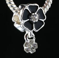 925 Silver Charm Beads Flowers Pendant Fit sterling Bracelet Necklace Chain #D63
