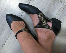 I LOVE BILLY Estella BLACK gold leather look FLAT heel shoe 38 7.5 work office