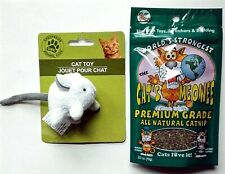 KITTEN CAT KITTY PLUSH TOY MICE, 1 Mouse White AND Premium All Natural Catnip 10
