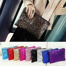 Glitter Sparkling Sequins Dazzling Clutch Evening Party Handbag Bag Bling Purse