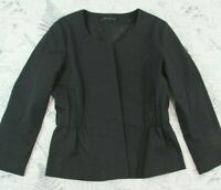 EUC Theory Black Wool Bled gathered waist  Blazer Jacket Women's size 2