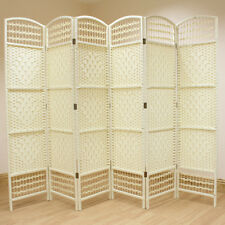 Cream 6 Panel Wicker Room Divider Hand Made Privacy Screen Separator Partition