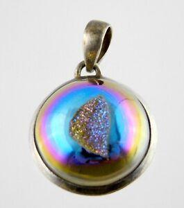 Sterling Silver Aura Quartz Druzy Iridescent Pendant Enhancer 925 Simulated Gem