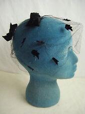 Vtg 50-60s Black Velvet Birds/Bows Veil Net Hat
