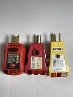 3x Gardner Bender GF1-501A, GFI-3501, ECTGFI. Gfi Receptacle Tester