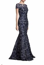DAVID MEISTER Navy Blue Silver Floral Embroidered Mermaid Gown NWT Size 16