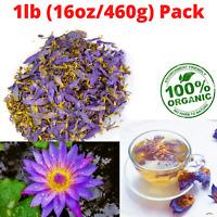 1lb(16oz/460g) Dried Organic Blue Lotus Nymphaea Caerulea Flower for Herbal Tea