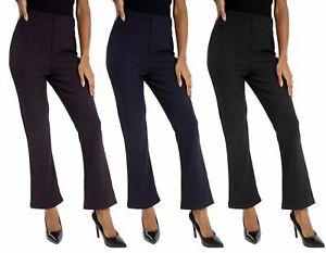 NEW WOMEN LADIES LEG TROUSERS PLUS SIZE STRETCH RIBBED BOOTLEG BLACK PANTS 10-26