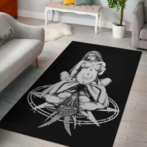 Satanic Goat Satanic Pentagram Lust For The Goat Area Rug Black & White Explicit