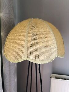 Vintage Large Wicker Cane Ceiling Light Shade Boho Tiki