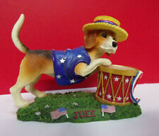 As Is Danbury Mint July 4th Patriotic Calendar Perpetual Beagle Dog Figurine