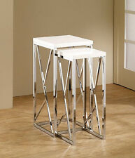 "Set of Chromed Nesting Side Accent Tables with WHITE Top 29""H"