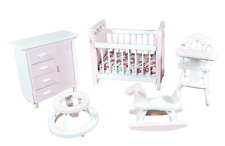 Dolls House Pink & White Nursery Furniture Set Miniature Baby Girl Room