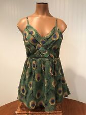 Just Funky Peacock Tank Baby Doll Top Boho Style Size M