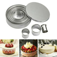 12X Baking Cake Cutter Cookie Stainless Steel Round Fondant Biscuit Mold Pastry