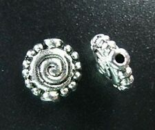 30PCS Tibetan Silver Dotted Rim Spiral Spacer Beads R897