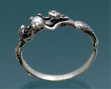 Beauty Fish Women 925 Silver White Pearl Ring Couple Wedding Jewelry Happiness