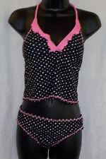 Malibu Dream Girl 2 Piece Swim Suit Size 16 NWT Black Multi Polyester Blend