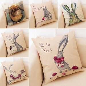 "18""x 18"" Spring Easter Pillow Covers Cases Decorative Cushion Sofa Rabbit Bunny"