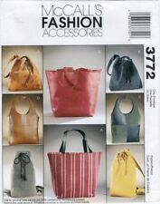 2002 Lined Tote Bags Purse Sewing Pattern McCall's 3772 OOP
