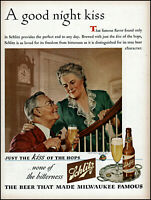 1944 Schlitz Beer married couple goodnight kiss vintage art print ad adL28