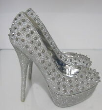 "Silver Glitter Spike 5.5"" High Heel 1.5"" Platform Round Toe Sexy Shoes Size .5.5"