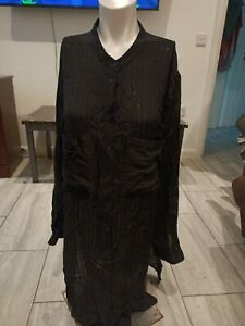 M&S Ladies Long Black Shirt Dress Buttons Size 20 to fit chest up to 40Rins
