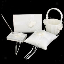 Chic Flower Wedding Party Guest Book Pen Ring Pillow Flower Basket Set