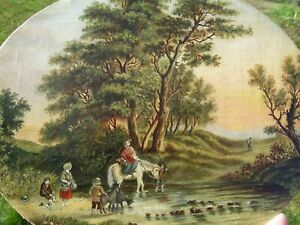 Fine Small Antique Oil Painting Figurines in Landscape Horse Goats Framed No Res
