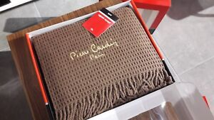 Pierre Cardin PARIS 900 Sofa Throw Over Blanket Plaid Camel Brown