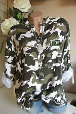 Shirt Blouse Camouflage Army Military Style Oversize Tunic Cotton 40 42 44
