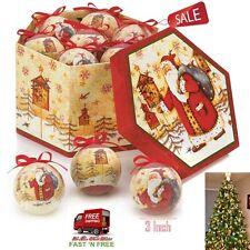 12 Christmas Ornaments Santa Snowman Ball Hanging Tree Home Decor Round Winter R