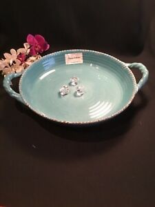 NEW Tommy Bahama Teal Rope rustic look MELAMINE Round Serving Tray Platter
