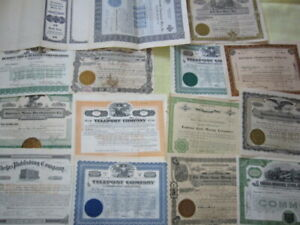 Lot of 15 Early Miscellaneous Vintage Stock Certificates Scripophily #2 LOT