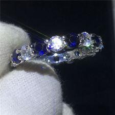 2Ct Round Cut Blue Sapphire Diamond Band Engagement Ring 14K White Gold Finish