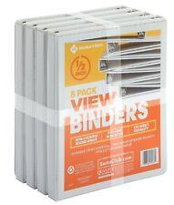 """1/2"""" Round-Ring View Binder, White (8 pk.)"""