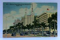 Miami Florida Biscayne Boulevard Bayfront Park Hotels Vintage Cars Postcard
